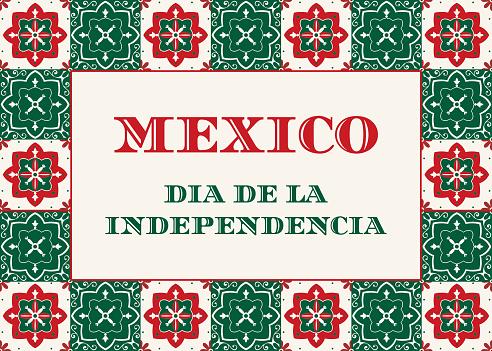 Mexico Independence Day (Dia de la Indepencia) illustration vector. Traditional Puebla ceramic tile ornament pattern. Talavera desig