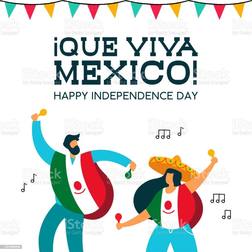 Mexico Independence Day mexican people at party Mexico Independence day illustration. Fun mexican friends at party with typical hat poncho and maracas for september 16 national event celebration. EPS10 vector. Celebration stock vector