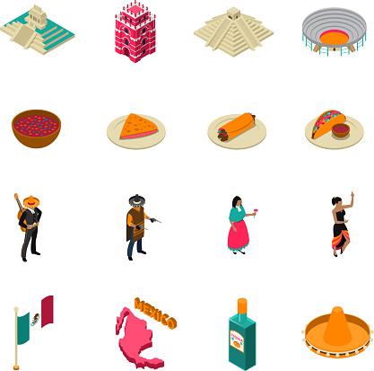 mexico isometric touristic icons