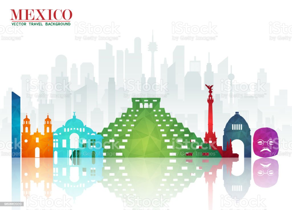 Mexico Landmark Global Travel And Journey Paper Background Vector Design Templateused For Your