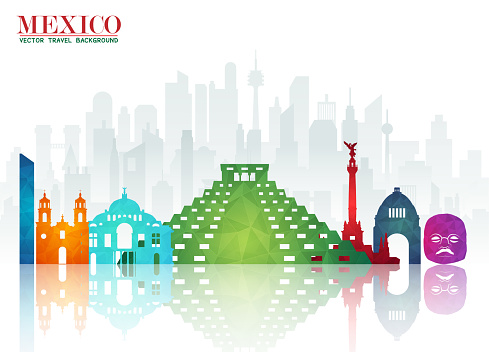 Mexico Landmark Global Travel And Journey paper background. Vector Design Template.used for your advertisement, book, banner, template, travel business or presentation.