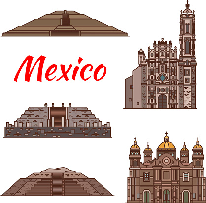 Mexico landmarks vector Aztec architecture icons