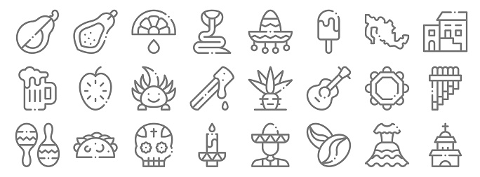 mexico line icons. linear set. quality vector line set such as temple, coffee beans, candle, maracas, jarocho, ajolote, traditional, mexican, papaya