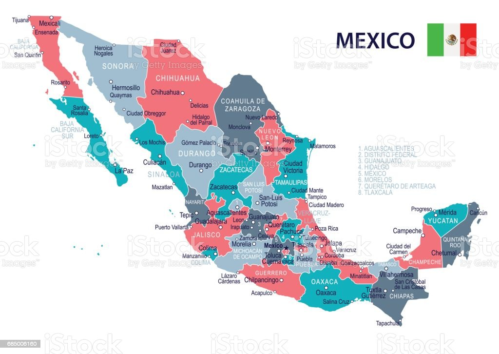 Mexico Map And Flag Illustration Stock Vector Art More Images of