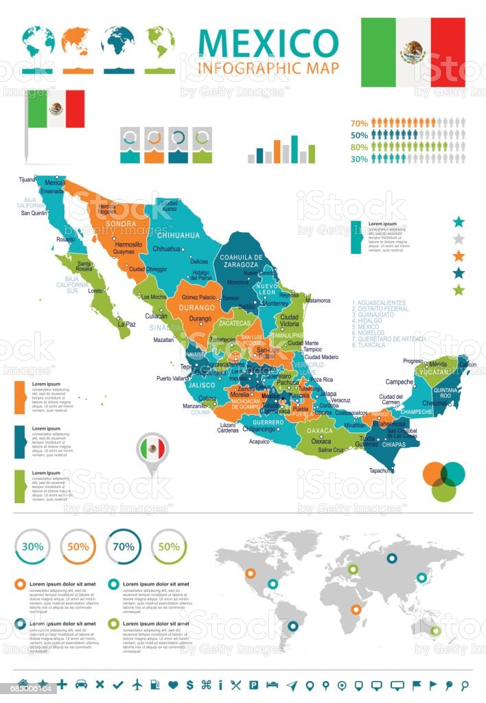 Mexico Map And Flag Infographic Illustration Stock Vector Art More