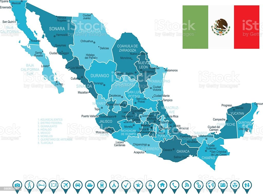 Mexico Map And Navigation Icons Stock Vector Art More Images of