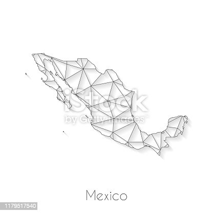 istock Mexico map connection - Network mesh on white background 1179517540