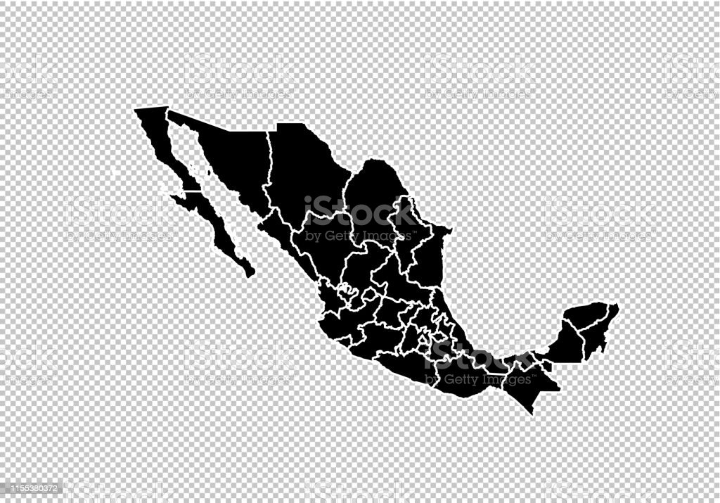 Mexico Maphigh Detailed Black Map With Countiesregionsstates ...