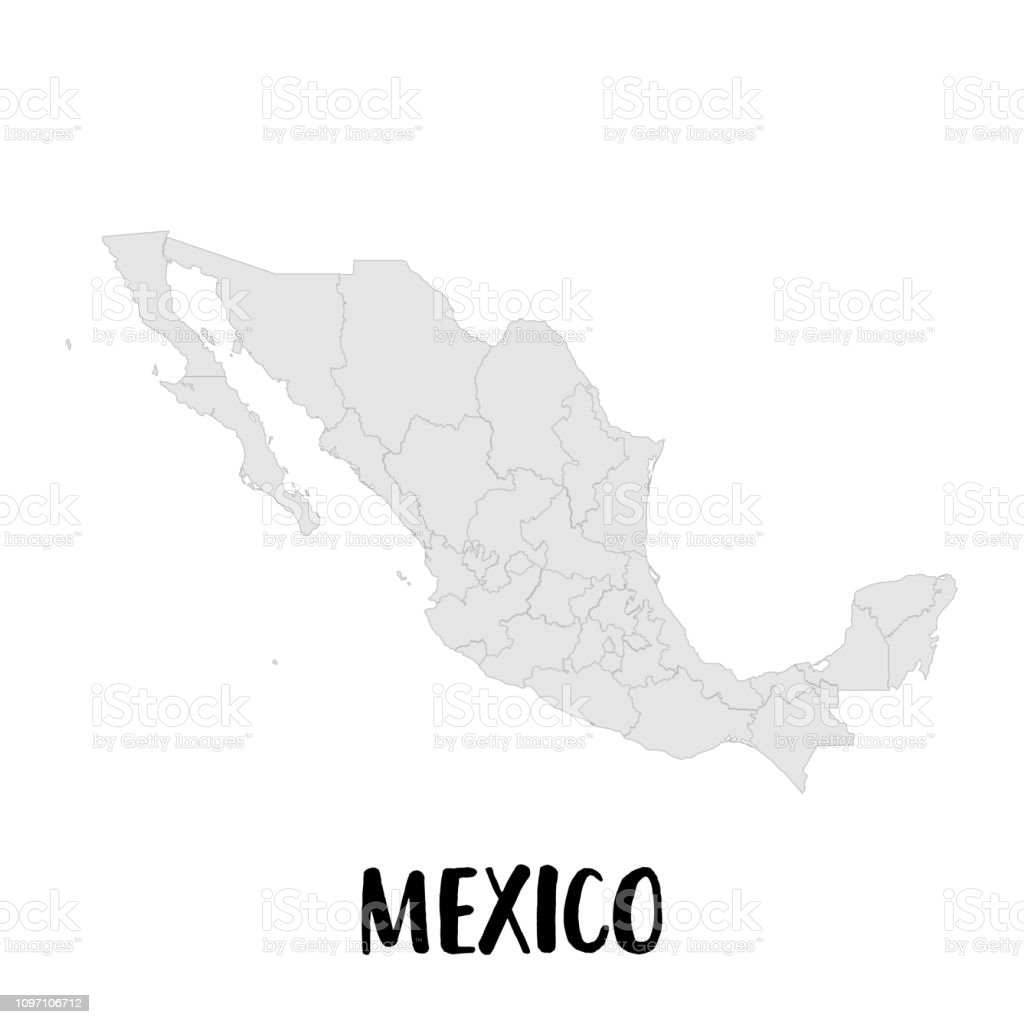 Mexico Map High Detailed Map Of Mexico On White Background ...