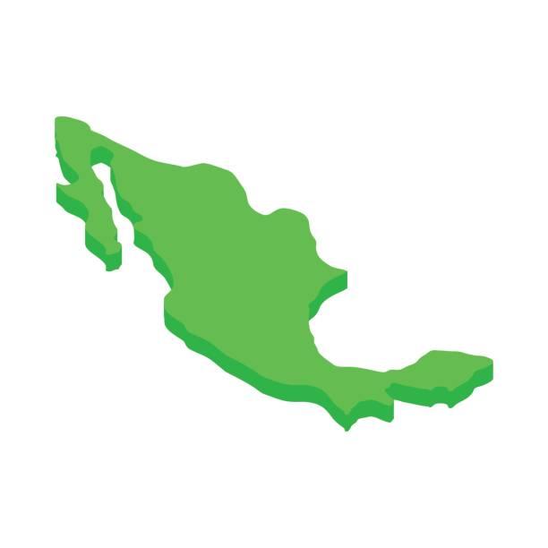 Mexiko-Kartensymbol, isometrischen 3d Stil – Vektorgrafik