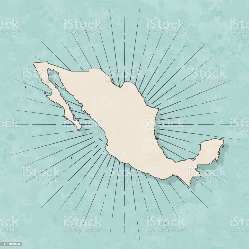 Mexico map in retro vintage style - Old textured paper - Royalty-free Abstract stock vector