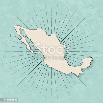 Map of Mexico in a trendy vintage style. Beautiful retro illustration with old textured paper and light rays in the background (colors used: blue, green, beige and black for the outline). Vector Illustration (EPS10, well layered and grouped). Easy to edit, manipulate, resize or colorize.
