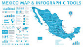 Mexico Map - Info Graphic Vector Illustration