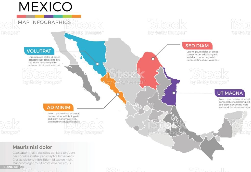 Mexico map infographics vector template with regions and pointer marks vector art illustration