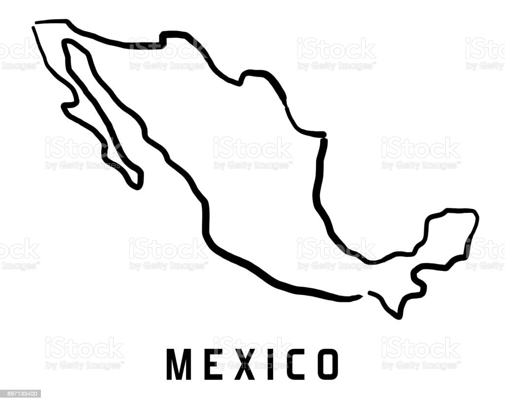 Mexico Map Outline Stock Vector Art & More Images of Blank