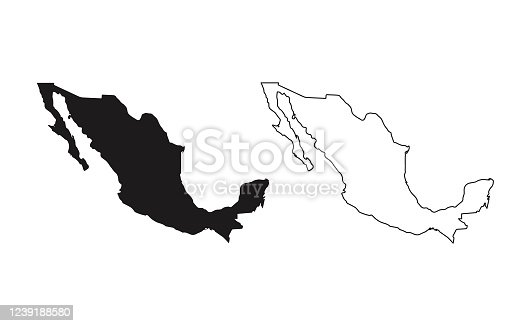 istock Mexico map silhouette line country America map illustration vector outline American isolated on white background 1239188580