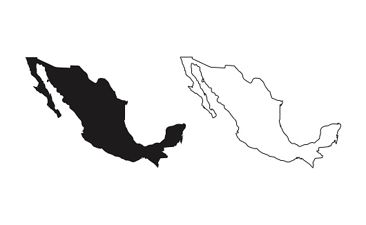 Mexico map silhouette line country America map illustration vector outline American isolated on white background