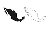 map silhouette line country America map illustration vector outline American isolated on white background