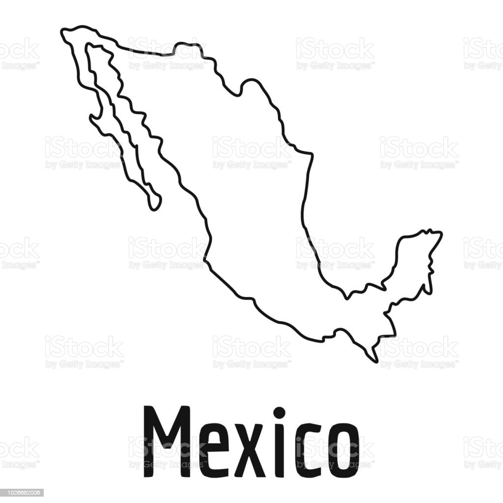 Mexico Map Thin Line Vector Simple Stock Vector Art More Images Of