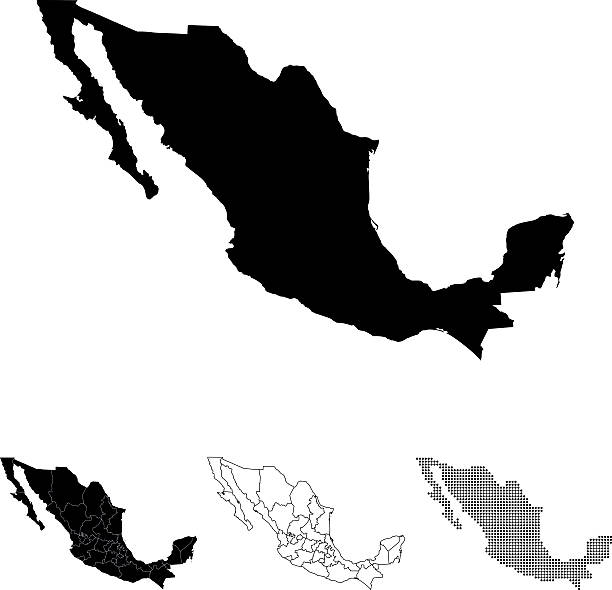 ilustraciones, imágenes clip art, dibujos animados e iconos de stock de mapa de méxico - siluetas de mapas
