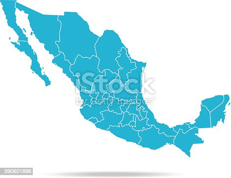 Empty Blue Map of Mexico   The urls of the reference files are (country, continent, world map and globe):  http://www.lib.utexas.edu/maps/americas/mexico_pol97.jpg http://www.lib.utexas.edu/maps/world_maps/time_zones_ref_2011.pdf http://www.lib.utexas.edu/maps/americas/north_america_ref_2010.pdf.  In addition - some region boundaries and city locations were taken from:  http://www.lib.utexas.edu/maps/united_states/usa_pol01.jpg http://www.lib.utexas.edu/maps/americas/mexico_pol97.jpg http://www.lib.utexas.edu/maps/americas/canada_pol_1986.gif  - The illustration was completed May 17, 2016 and created in Corel Draw  - 1 layer of data used for the detailed outline of the land