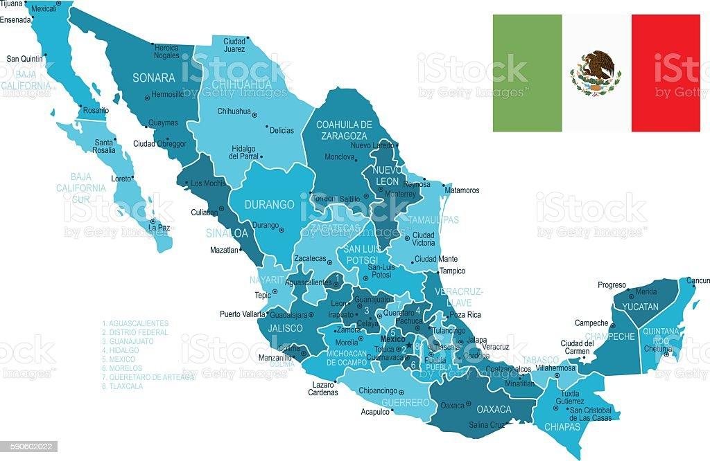 Mapa de México - ilustración de arte vectorial