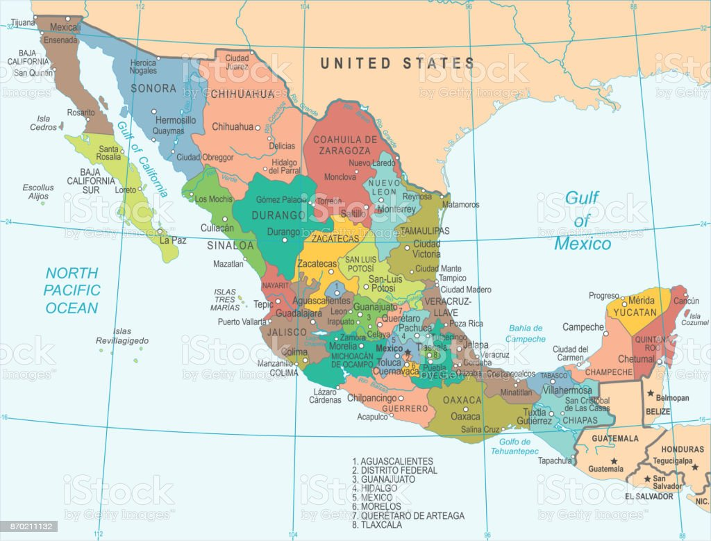 Mexico Map Vector Illustration Stock Vector Art More Images of