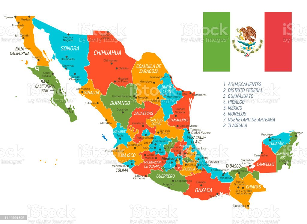 Mexico Map Vector Map With States And National Flag Stock ... on