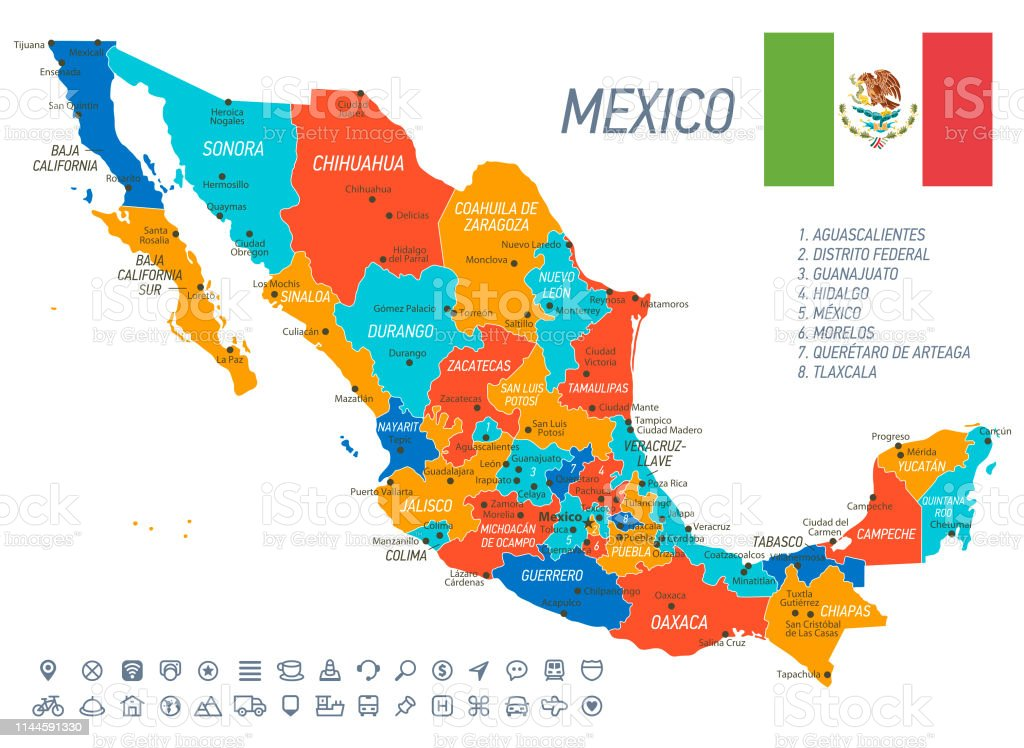Mexico Map Vector Map With States Icons And Navigation Icons Stock ...