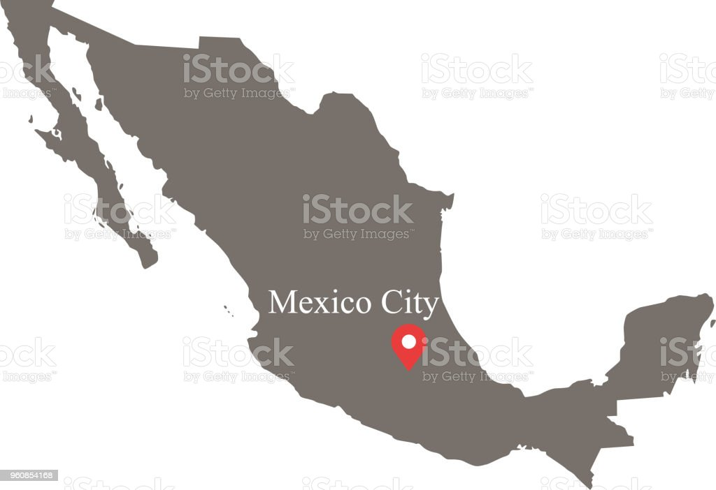 mexico map vector outline with provinces or states borders and capital location and name mexico