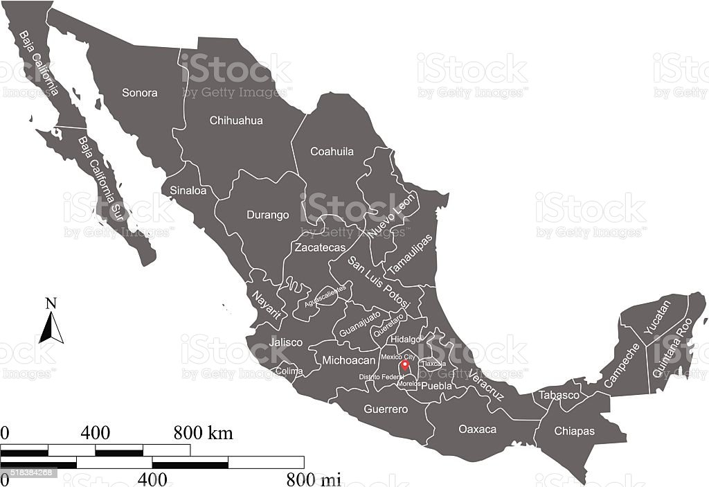 Mexico Map Vector Outline With Scales And Provinces Or States Stock ...