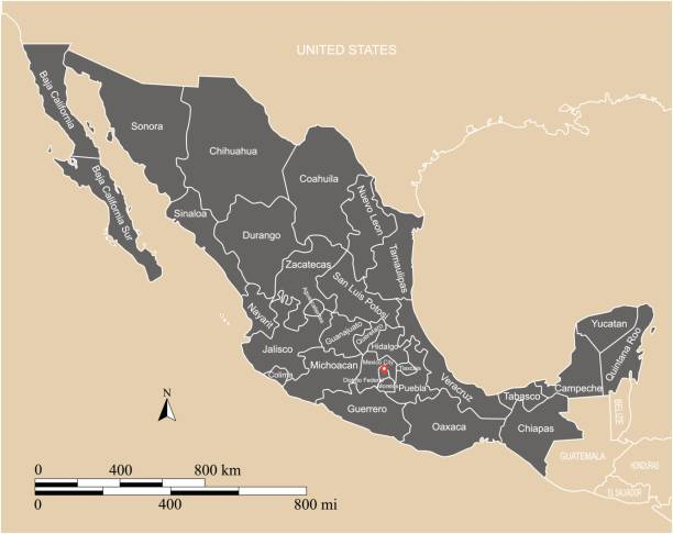 Mexico map vector outline with scales, states or provinces, neighbor countries borders and names This vector map of Mexico country has been accurately made by a graphic designer who has a postgraduate degree in GIS and remote sensing. You can use this map to show your study site of a project. coahuila state stock illustrations
