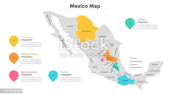 Mexico map divided into regions or states. Territory of country with regional borders, geographical division. Infographic design template. Flat vector illustration for brochure, touristic website.