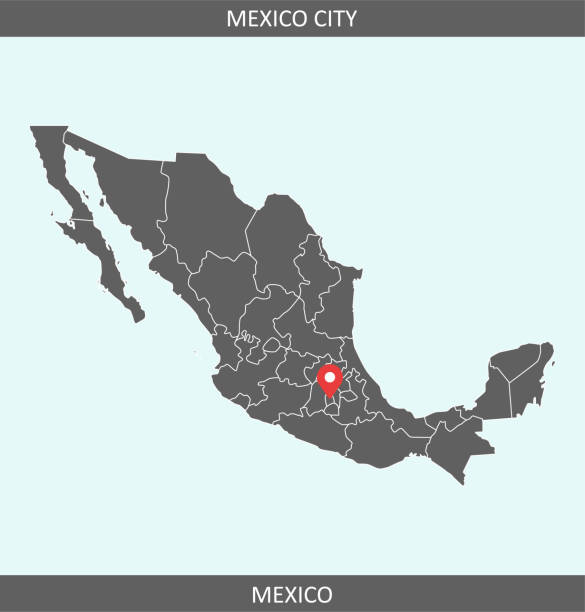 Mexico map vector with capital city location Mexico City for educational purposes Downloadable outline vector map of Mexico for educational purposes. The map is accurately prepared by a map expert. coahuila state stock illustrations
