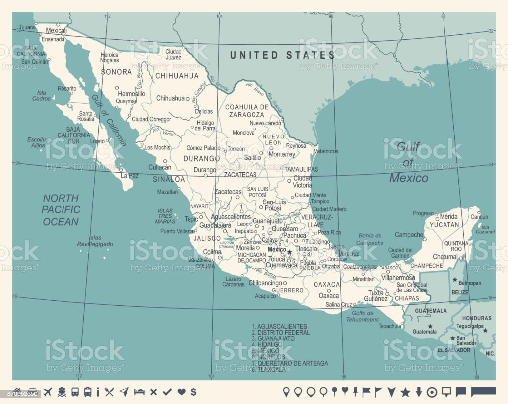 Mexico Map Vintage Vector Illustration Stock Vector Art More