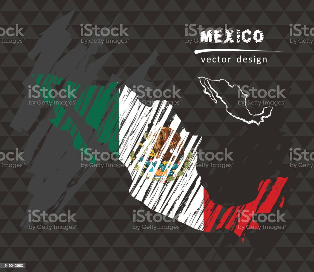 Mexico map with flag inside on the black background. Chalk sketch vector illustration vector art illustration
