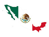 vector illustration of Mexico map with flag