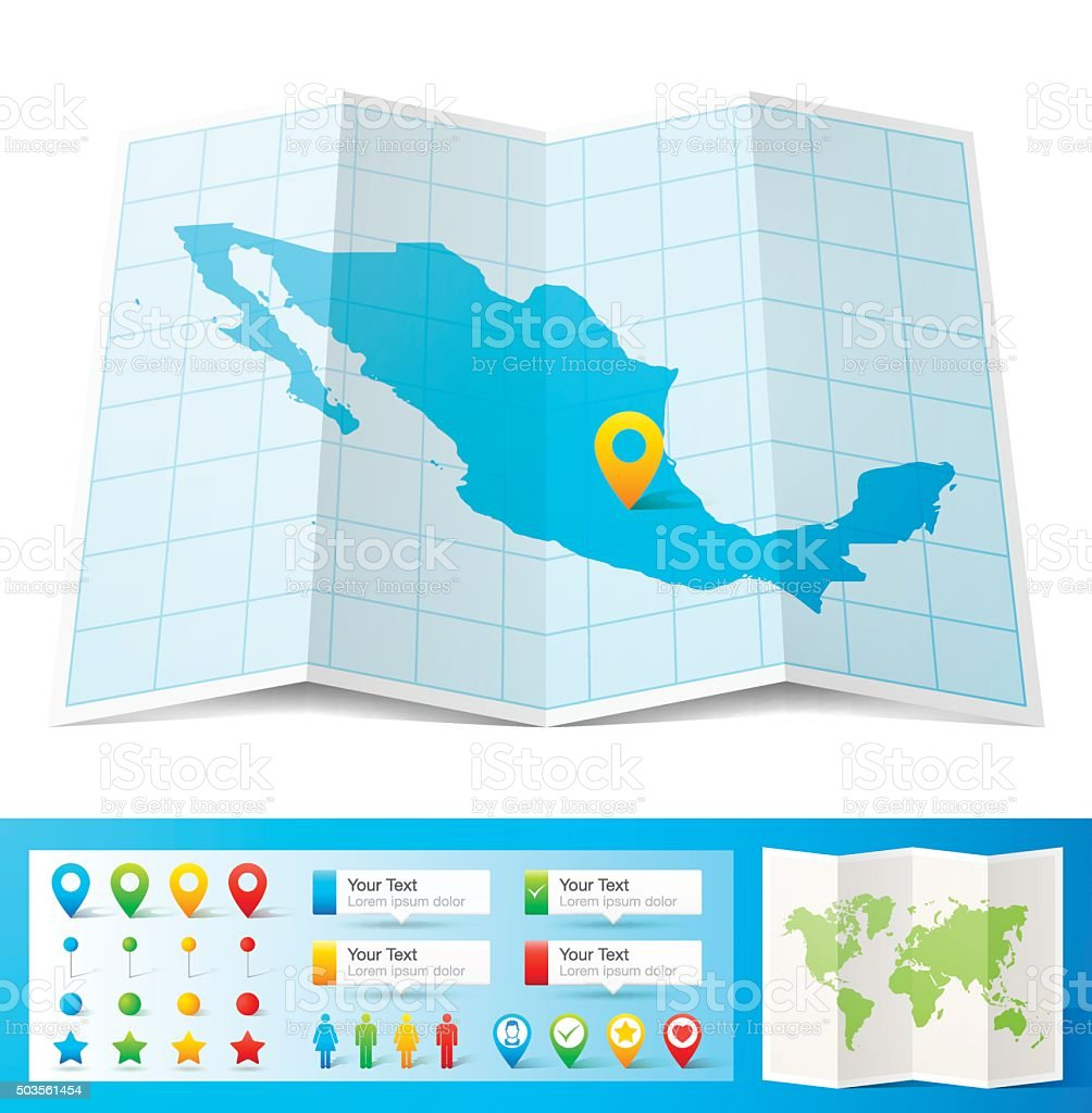 Mexico Map with location pins isolated on white Background vector art illustration