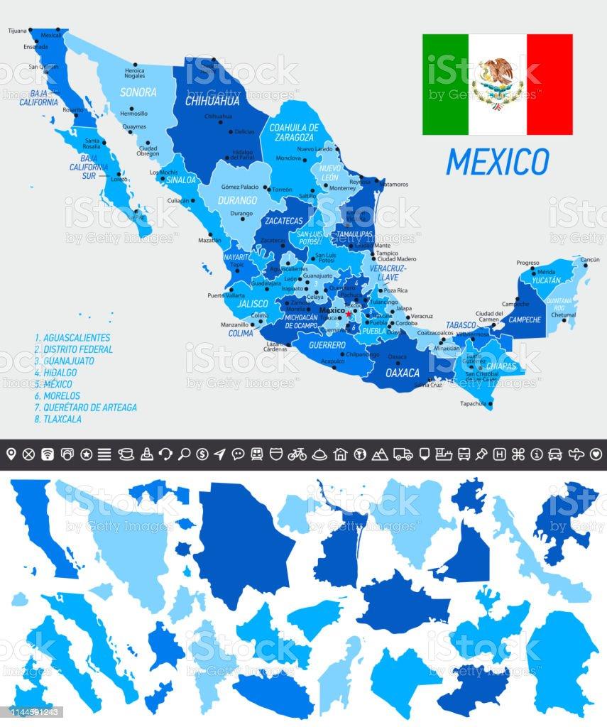 Mexiko Staaten Karte.Mexikokarte Mit Nationalflagge Getrennten Staaten Und