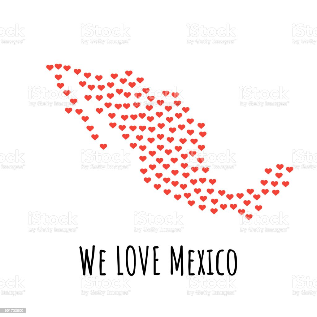 Mexico Map With Red Hearts Symbol Of Love Abstract Background Stock