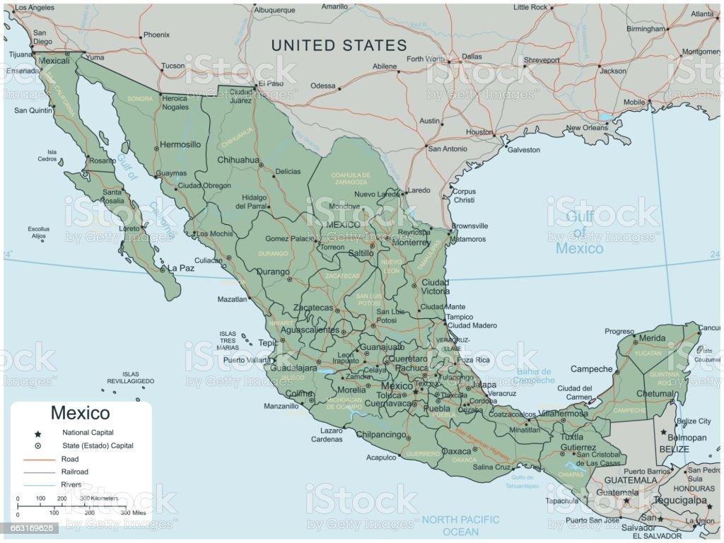 Mapa de México con territorios seleccionables. Vector de - ilustración de arte vectorial