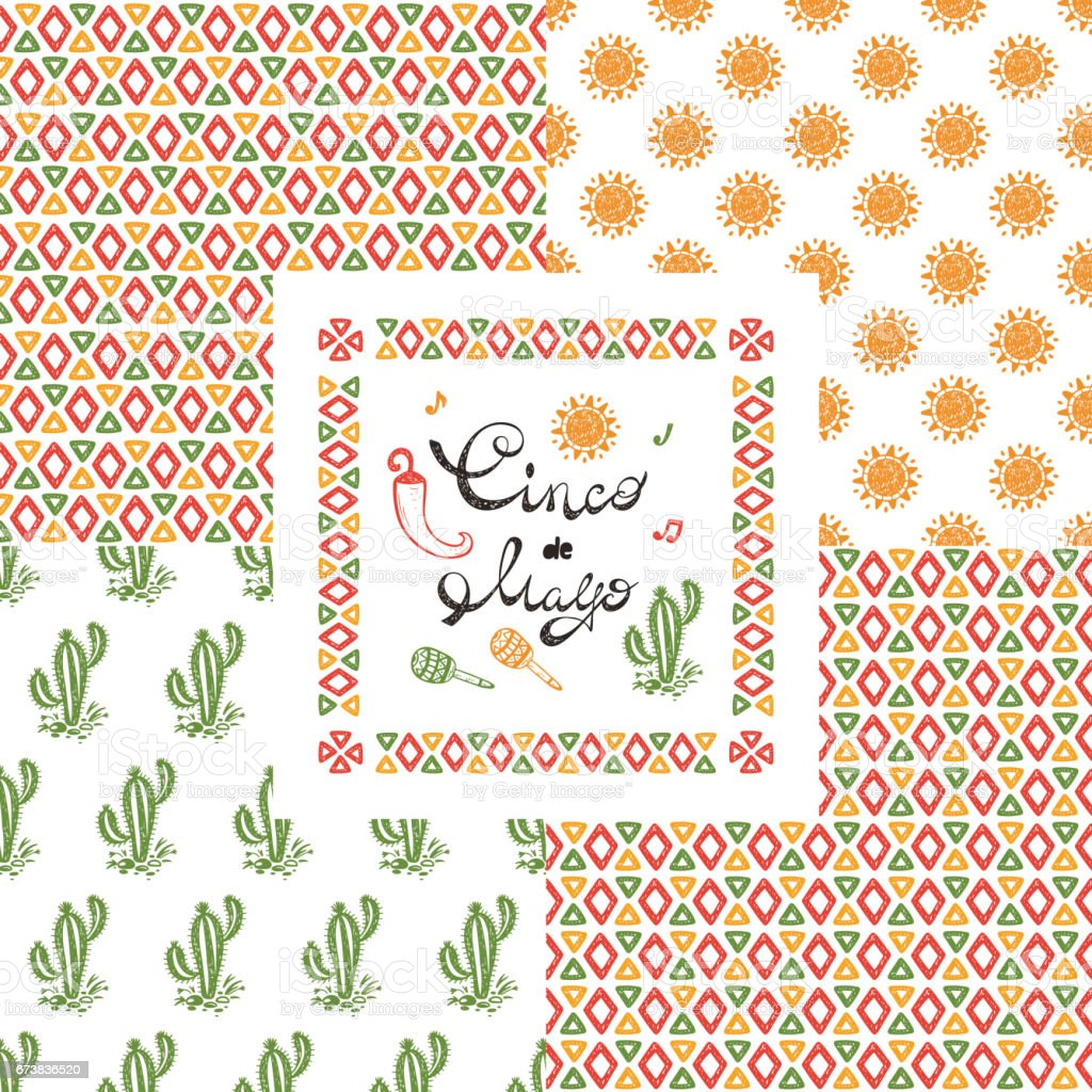 Mexico mexican holiday happy synco de mayo vector greeting card and mexico mexican holiday happy synco de mayo vector greeting card and four seamless patterns m4hsunfo