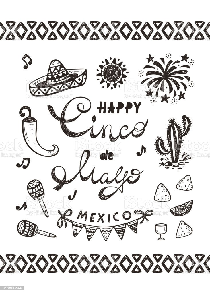 Mexico mexican holiday happy synco de mayo vector greeting card with mexico mexican holiday happy synco de mayo vector greeting card with hand drawn doodle m4hsunfo Image collections