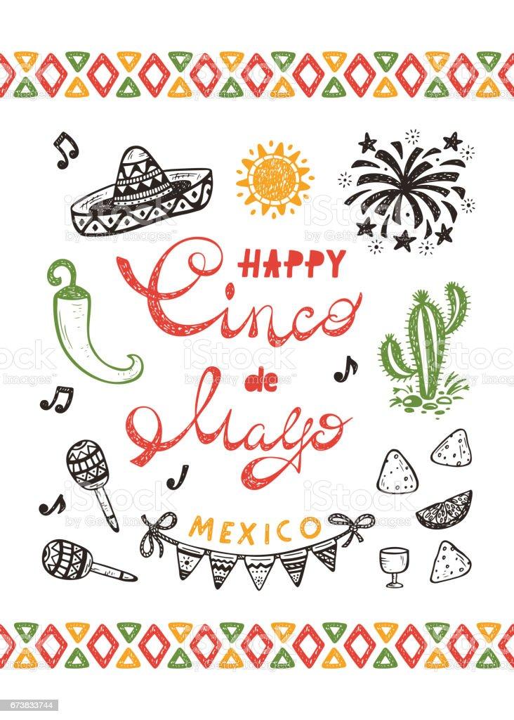 Mexico mexican holiday happy synco de mayo vector greeting card with mexico mexican holiday happy synco de mayo vector greeting card with hand drawn doodle m4hsunfo