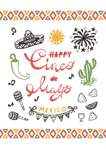 bildbanksillustrationer, clip art samt tecknat material och ikoner med mexico. mexikanska holiday. peppar chili, fyrverkeri, nachos, glad synco de mayo vektor gratulationskort med handritad doodle sombrero, cactus, maracas, solen, bunting flaggor - cactus lime
