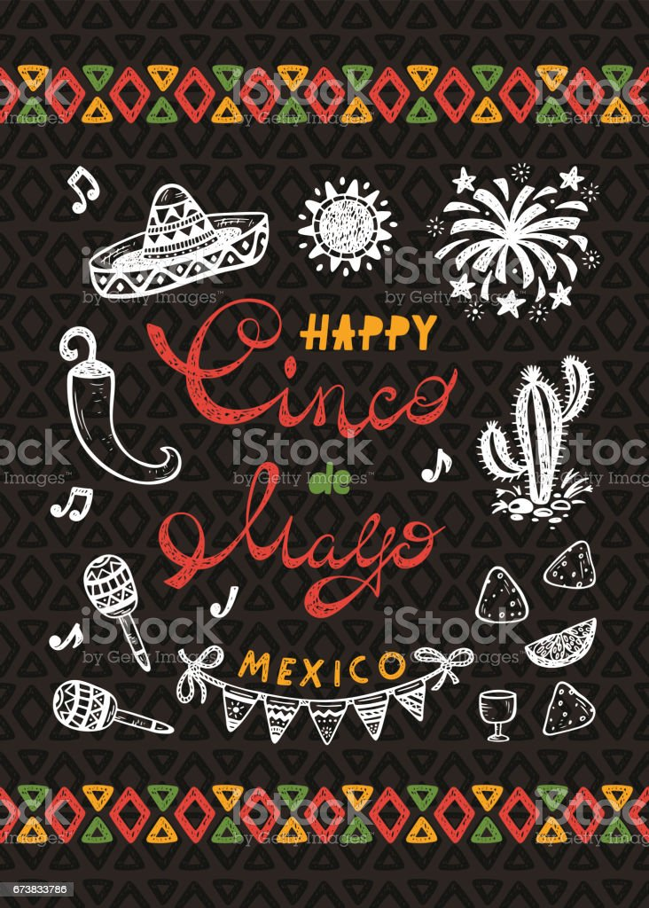 Mexico. Mexican holiday. Happy Synco de Mayo Vector Greeting Card with Hand drawn doodle Sombrero, Cactus, Maracas, Sun, Pepper Chili, Nachos, Firework, Bunting Flags vector art illustration