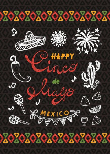 Mexiko. Mexikanischer Feiertag. Glücklich Synco de Mayo Vektor Grußkarte mit handgezeichneten Doodle Sombrero, Kaktus, Maracas, Sonne, Chili Pepper, Nachos, Feuerwerk, Bunting Flags – Vektorgrafik