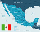 Map of Mexico - Vector illustration