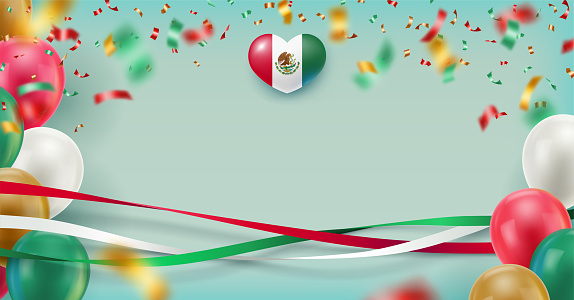 Mexico national holiday banner with space for text