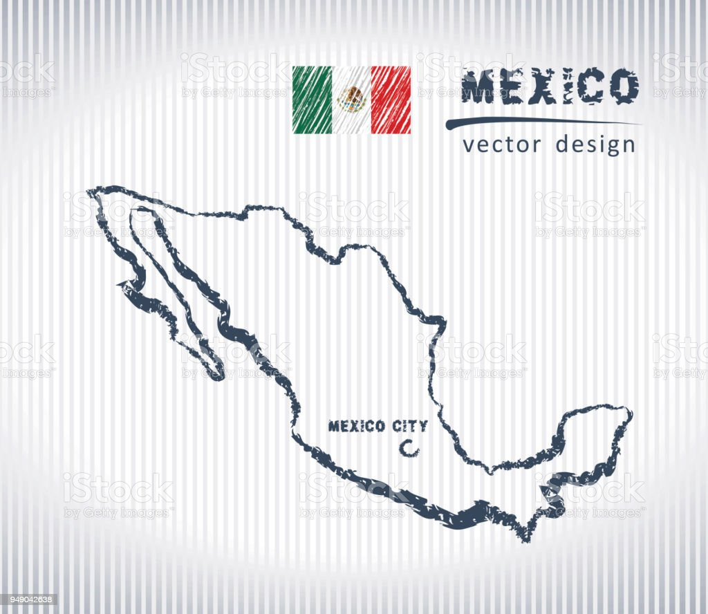 Mexico national vector drawing map on white background vector art illustration